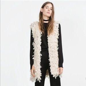 Zara Ecru Braided Knitted Waistcoat Vest Jacket M